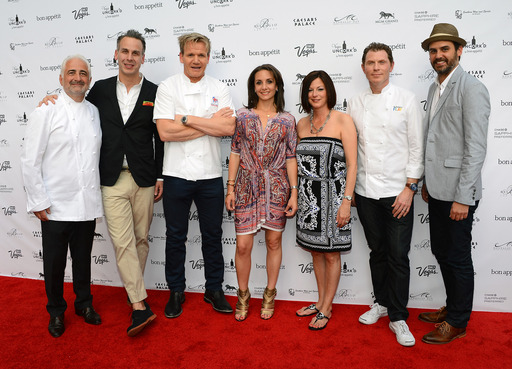 Guy Savoy, Adam Rapoport, Gordon Ramsay, Pamela Drucker Mann, Cathy Tull, Bobby Flay and Andrew Knowlton at Grand Tasting Red Carpet at Caesars Palace