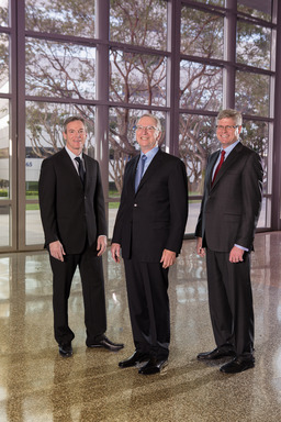 From left to right: Dr. Paul E. Jacobs, Executive Chairman of the Board of Directors; Dr. Irwin M. Jacobs, Founding Chairman and CEO Emeritus; and Steve Mollenkopf, Chief Executive Officer.