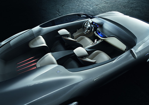 Maserati Alfieri's 2+2 seat cabin is a study in simplicity and minimalism complete with a suspended dashboard conceptually inspired by the Maserati 5000GT, and boasting a clean, organic, two-tone design built around a central TUFT screen.