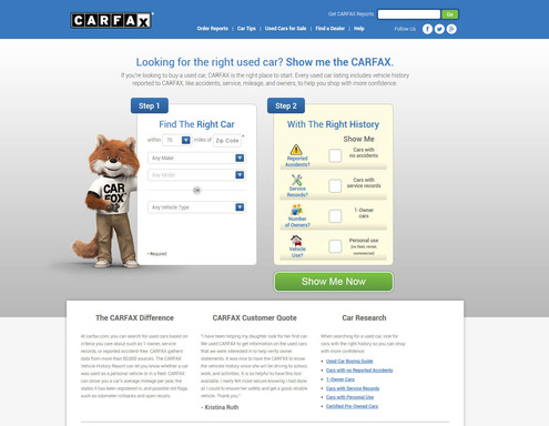 Start searching for used cars using vehicle history only at Carfax.com.