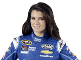 Danica Patrick models her new blue firesuit that she will race in during this weekend's Kolbalt 400 NASCAR Sprint Cup Series race