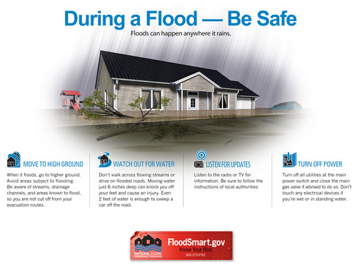 Safety is the first priority during a flood.