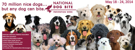 National Dog Bite Prevention Week, sponsored by the American Veterinary Medical Association, is May 18-24, 2014. Each year more than 4.5 million people or bitten by dogs.