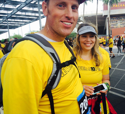 Randy and Tiffany Shepherd share smiles before walking in Pat's Run. Randy made history by becoming the first SynCardia Total Artificial Heart patient to enter and complete the 4.2-mile course.