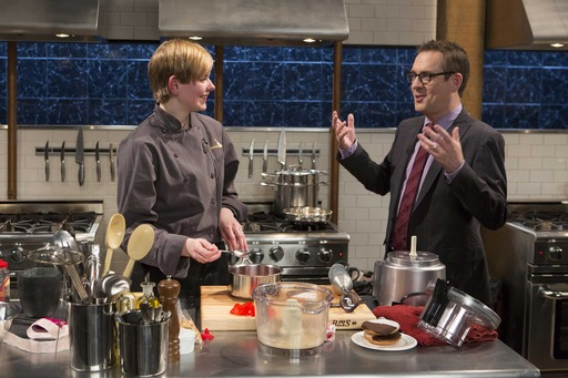 Teen Contestant with Host Ted Allen on Chopped Teen Tournament