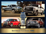 Reclaiming the top spot among truck shoppers, Ford ousts last year's winner, Toyota, for the Best Overall Truck Brand category.