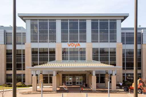 A new Voya sign is installed on the company's building in Windsor, Conn. ING U.S. changed its corporate name to Voya Financial on April 7 as part of a phased rebranding effort.
