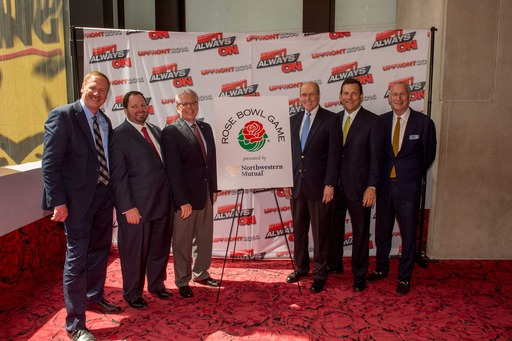 Left: Ed Erhardt, pres, ESPN Gbl. Mktg/Sales; Conrad York, vp/mktg, Northwestern Mutual; Bill Flinn, exec dir, Tournmt. of Roses; Bill Hancock, exec dir, College Football Playoff; John Schlifske, CEO, Northwestern Mutual; and John Skipper, pres, ESPN