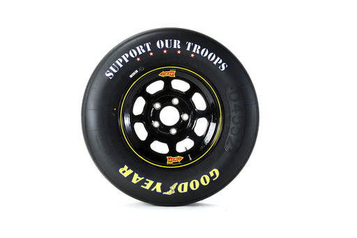 "To kick off the Goodyear Gives Back program, Goodyear will transform its NASCAR race tires by replacing the ""Eagle"" sidewall design with ""Support Our Troops"" messaging on all tires used during Memorial Day weekend at Charlotte Motor Speedway."