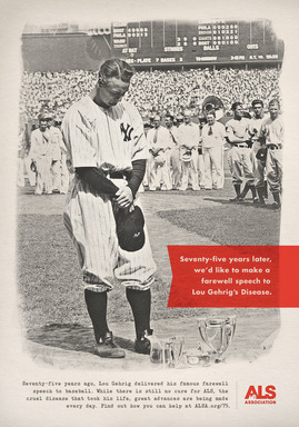 The ALS Association created public service announcements to honor Gehrig's legacy and recognize the 75th anniversary of his farewell speech.