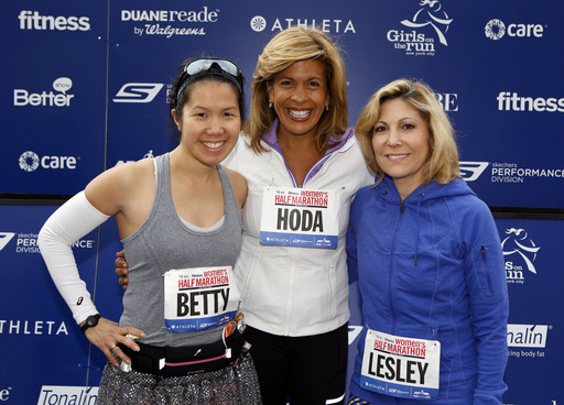 (l to r) Celebrity host Hoda Kotb (Today Show) poses with Fitness Editor-in-Chief Betty Wong and More Editor-in-Chief Lesley Jane Seymour at the 11th Annual More Magazine/Fitness Magazine Women's Half