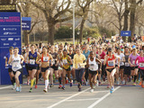 U.S. Olympian Deena Kastor leads the pack from the starting line of the 11th Annual More Magazine/Fitness Magazine Women's Half-Marathon in New York City's Central Park on April 13, 2014.