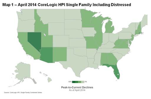 Single-Family Combined Series Peak to Current Declines: 12-Month Change by State