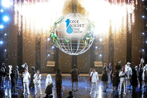 One Night for ONE DROP finale featuring vocal super group The Tenors alongside more than 100 Cirque du Soleil artists and guest performers. PHOTO CREDIT: David Becker/WireImage
