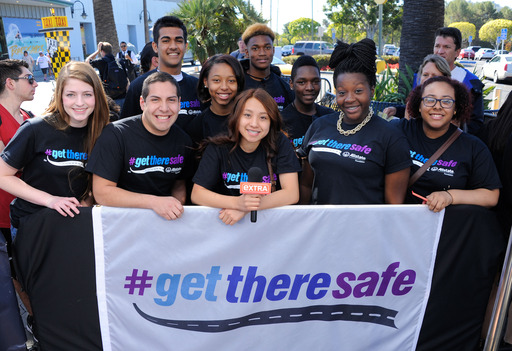 "Teens from across the country kick off The Allstate Foundation's #GetThereSafe program on the set of ""Extra"" on April 28 with singer Austin Mahone. Each teen will flag the issue of teen safe driving at their high schools."