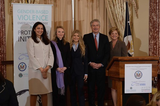 U.S. State Dept. Acting Asst. Secretary Uzra Zeya, Vital Voices President/CEO Alyse Nelson, Avon Foundation Ambassador Fergie, Deputy Secretary of State William Burns, Avon CEO Sheri McCoy announcing a gender-based violence initiative.