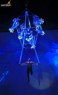 Indian celebrity choreographer, Terence Lewis performing on a specially-created aerial system rigged by Natura