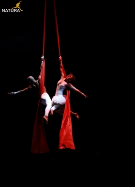 Aerialists Jess and Yoko performing 'Aerial Duology' - an aerial act created by Natura