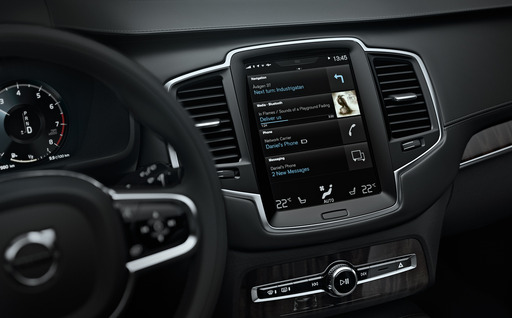 The central touch screen display is fully integrated in the overall design experience of the All-New Volvo XC90