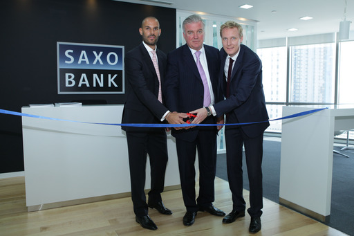 Co-CEO & Co-Founder Lars Seier Christensen is cutting the ribbon along with Jakob Thomsen, Saxo Bank's Head of Middle East, and Filippo De Rosa, which has been appointed Head of the Abu Dhabi office.
