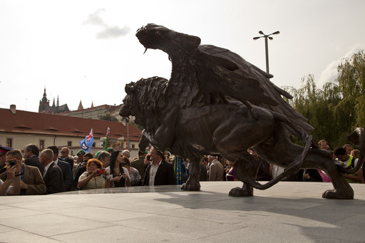 The Winged Lion Memorial was unveiled to commemorate some 2,500 Czechoslovak men and women who fought with the Royal Air Force during World War II.