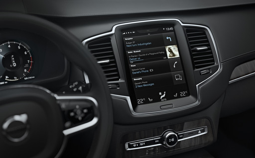 The bottom 'tile' in the all-new Volvo XC90's new touch screen centre display will be where projected smartphone applications will be accessed.