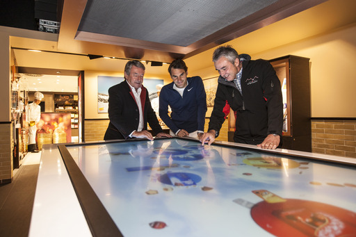 Lindt & Sprüngli CEO Ernst Tanner, tennis champion Roger Federer and Jungfraubahnen CEO Urs Kessler at the opening of the Lindt Swiss Chocolate Heaven on the Jungfraujoch on 3454 metres above sea level on Wednesday, 16 July 2014.