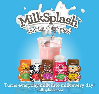 MilkSplash™  has a variety of great-tasting, zero-calorie flavors, such as Cocoa Loco, Sir Strawberry Swirl™, Orange Cream Dream, Cookies 'N Cream and Jammin' Banana. Visit milksplash.com.