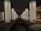 Leading to the lobby, guests will walk down an inviting pathway of stone surrounded by towering columns enveloped in white sheers and statement mirrors. (Rendering)