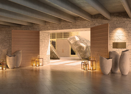 Delano Las Vegas' expansive stone entry will feature a wood-slatted gate and an extraordinary divided boulder from the Nevada desert. (Rendering)
