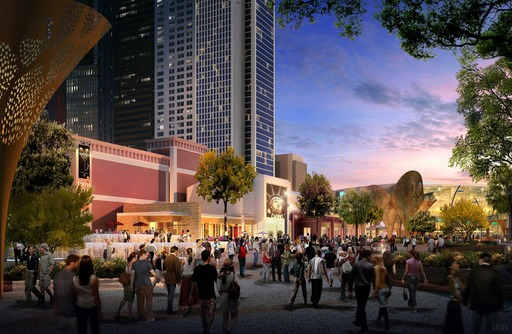 The Park will re-envision the traditional pedestrian experience in Las Vegas, drawing passersby from The Strip into an oasis boasting unique water features, artful shade structures and microclimates.