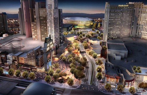 The Strip's first park will create a dynamic neighborhood environment that encompasses New York-New York and Monte Carlo resorts and the 20,000-seat arena currently in development by MGM and AEG