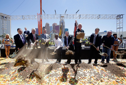 Ceremony honorees break ground on the new 20,000-seat arena between New York-New York and Monte Carlo. (L to R): Schaefer, Sisolak, Murren, Mayweather, Beckerman, Walton, Robitaille, White