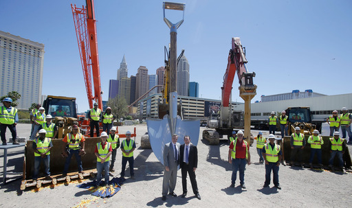 Chairman and CEO of MGM Resorts International Jim Murren and President & CEO of AEG Dan Beckerman at the Las Vegas Arena groundbreaking, which will create 3,500 construction jobs and 2,000 permanent positions.