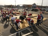 Nearly 60 Lowe's Heroes were among the 100 volunteers who raised the walls of six homes at Lowe's of Maplewood, Mo.