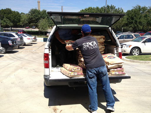 The Hill's Disaster Relief Network ships pet food quickly to shelters in disaster areas.  Credit: Texas SPCA