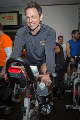 Seth Meyers rides at Cycle for Survival 2014. 100 percent of donations raised at Cycle for Survival fund rare cancer research and clinical trials at Memorial Sloan Kettering Cancer Center.