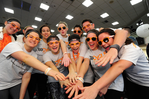 Teammates rally together at Cycle for Survival 2014. 100 percent of donations raised at Cycle for Survival fund rare cancer research and clinical trials at Memorial Sloan Kettering Cancer Center.