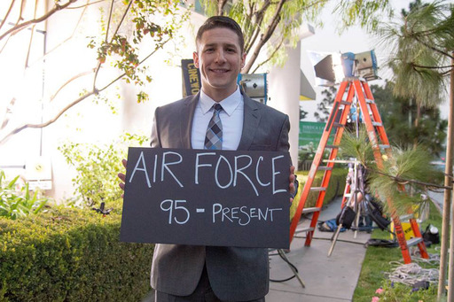 Air Force pilot and actor Jose Sarduy proudly displays his years of service.