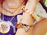 Roar Nameplate Pendant Necklaces;  PRISM Round Pendant Necklace;  Roar Square Hinged Bangle Bracelet;  Roar Charm Bracelet