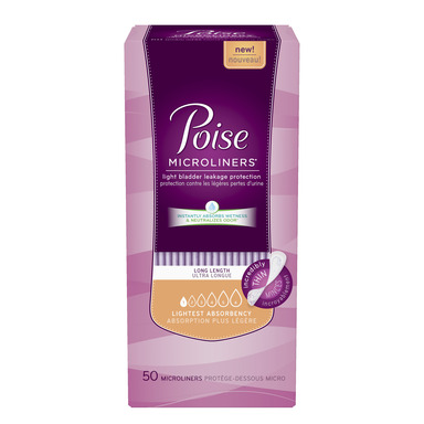 New Poise Microliners feature SAM (Super Absorbent Material)  and stay three times drier than period liners to help women manage their Light Bladder Leakage (LBL) with confidence.