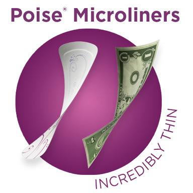New Poise Microliners are shockingly thin, surprisingly absorbent and provide discreet Light Bladder Leakage (LBL) protection to help keep women dry and comfortable all day long.