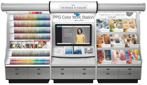The PPG Color Work Station, a new retail palette display with an integrated 42-inch trouchscreen, serves as a comprehensive color station to simplify color selection and coordination.