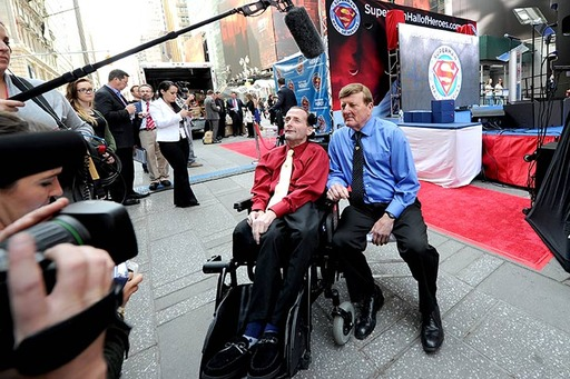 Marathon legends Rick and Dick Hoyt participate in media interviews at the inaugural Superman Hall of Heroes induction ceremony in Times Square in New York, NY on May 13, 2014