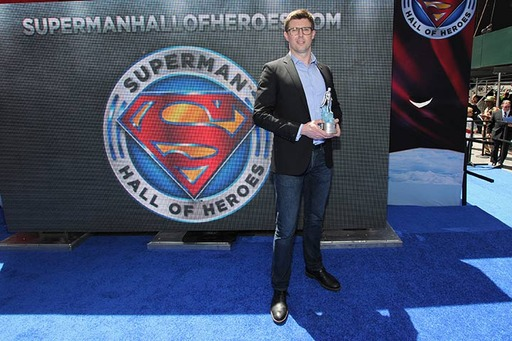 Matthew Reeve, eldest son of Christopher Reeve, accepts the Superman Hall of Heroes award on behalf of his father at the inaugural Superman Hall of Heroes induction ceremony in Times Square in New York, NY on May 13, 2014