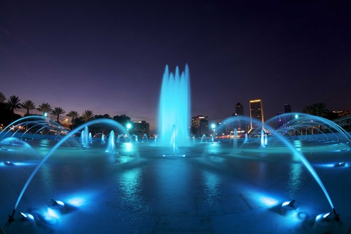 The Friendship Fountain in Jacksonville, FL turns turquoise in honor of the American Lung Associations LUNG FORCE movement.