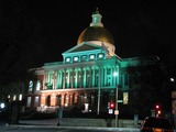 The Massachusetts State House in Boston turns turquoise in support of the American Lung Association's LUNG FORCE.