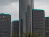 Detroit's Renaissance Center turns turquoise to rally behind the American Lung Association's LUNG FORCE movement.