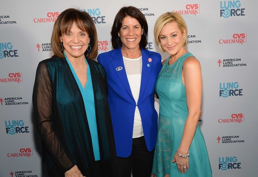 Valerie Harper, Helena Foulkes, President CVS/pharmacy and Kellie Pickler walk the turquoise carpet at the American Lung Association's LUNG FORCE national kickoff reception in New York City. CVS Caremark is the national presenting sponsor of LUNG FORCE.