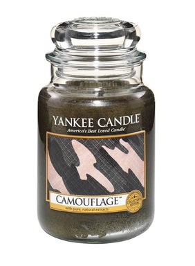 New Camouflage from Yankee Candle joins its limited edition Man Candles collection  for summer 2014, featuring a natural, woodsy blend of fresh air, golden leaves and oak tree bark.